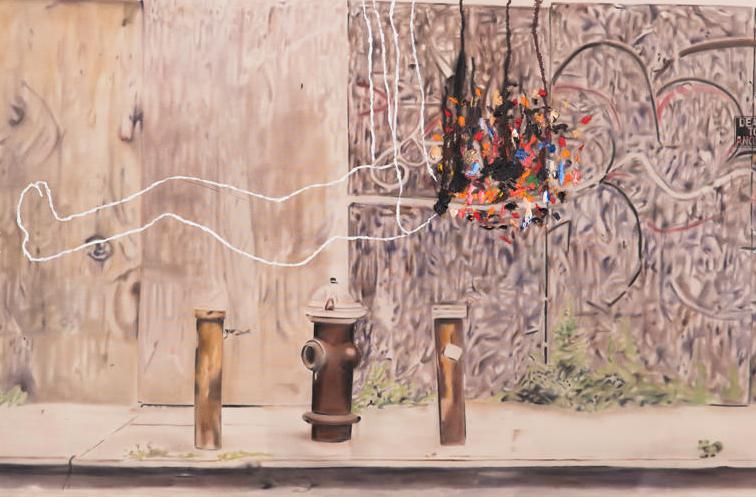 Urban landscape death to angels no. 2 ,2013. Huile sur toile,84 x 60 pouces.