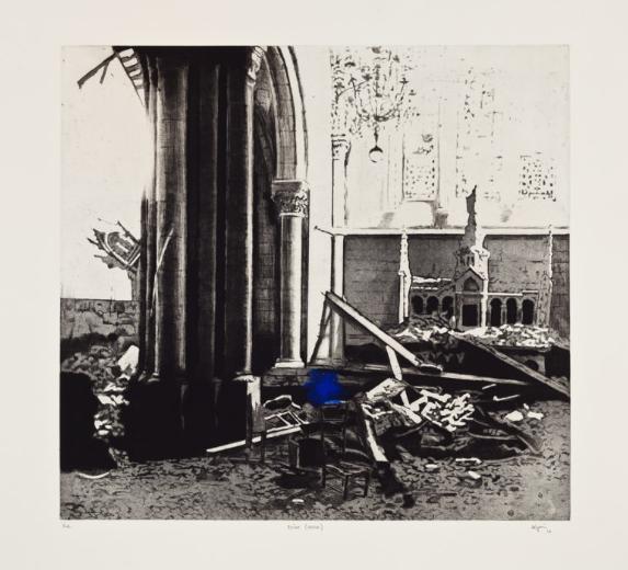 Ruine (bleue) , 2010. Eau-forte rehaussée à la main.