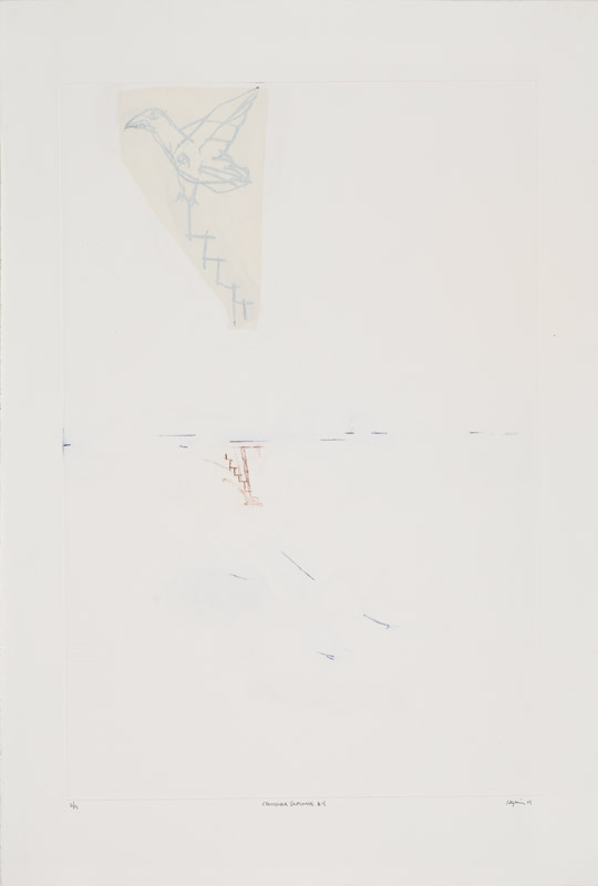 Chronique Automne 4 , 2001.Eau-forte rehaussée à la main.