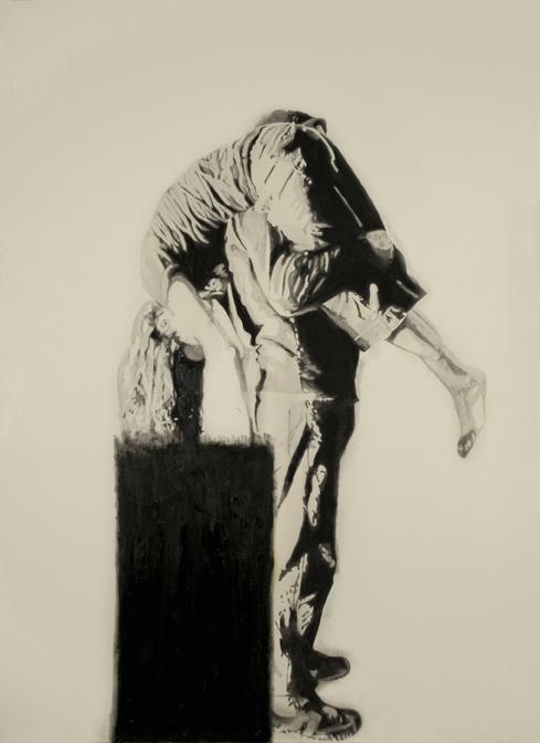 Black , 2007. Huile sur toile,84 x 60 pouces.