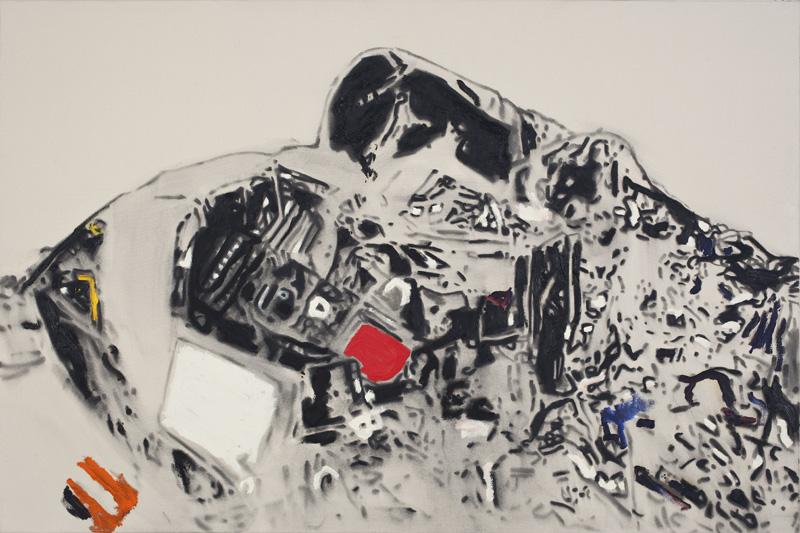 Blackbox , 2007. Huile et fusain sur toile,122 x 183 cm.