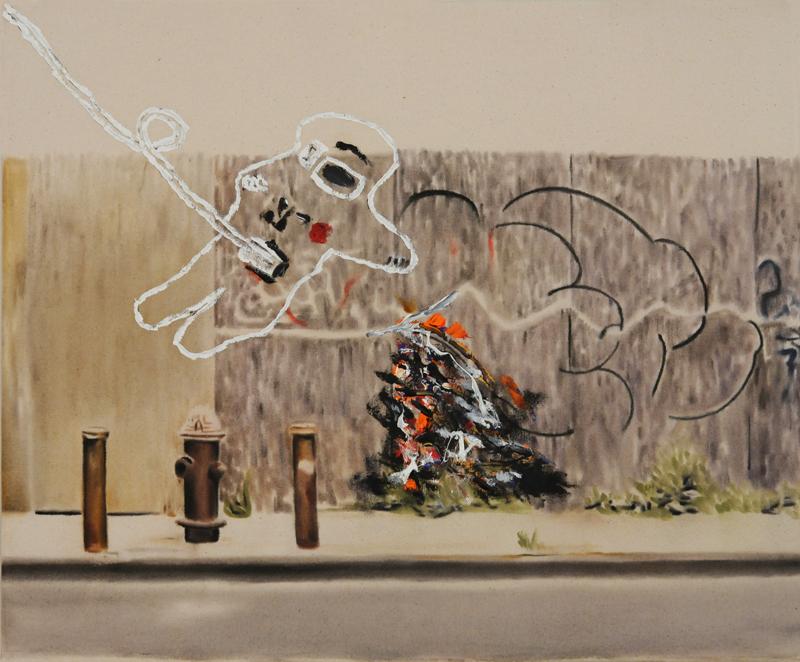 Urban landscape with astronaut (fire hydrant) , 2014. Huile et fusain sur toile,51 x 61 cm.