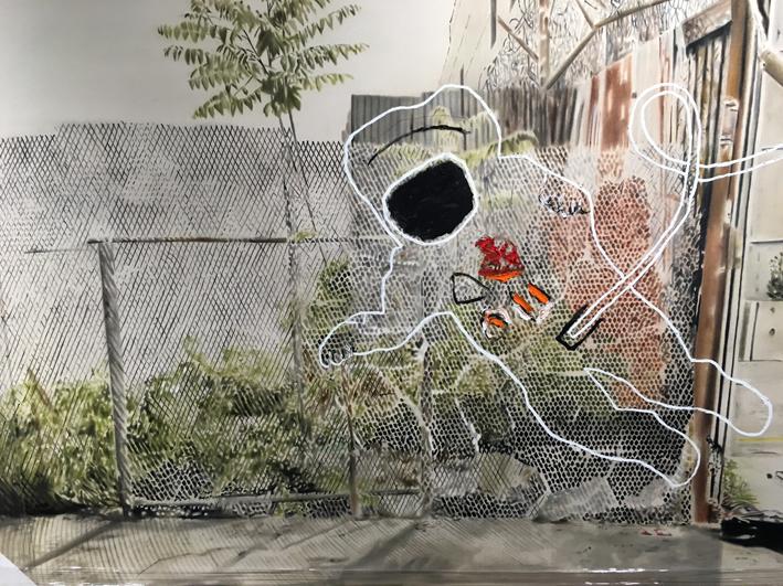 Urban landscape , 2014. Huile et fusain sur toile.