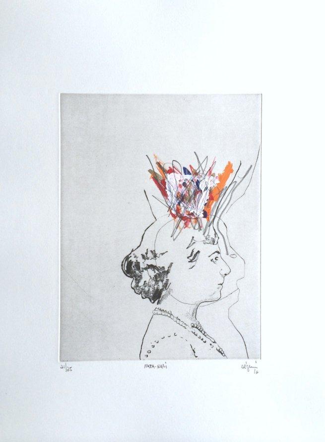 Mata-Hari , 2016. Eau-forte rehaussée à l'acrylique. Édition de 25.