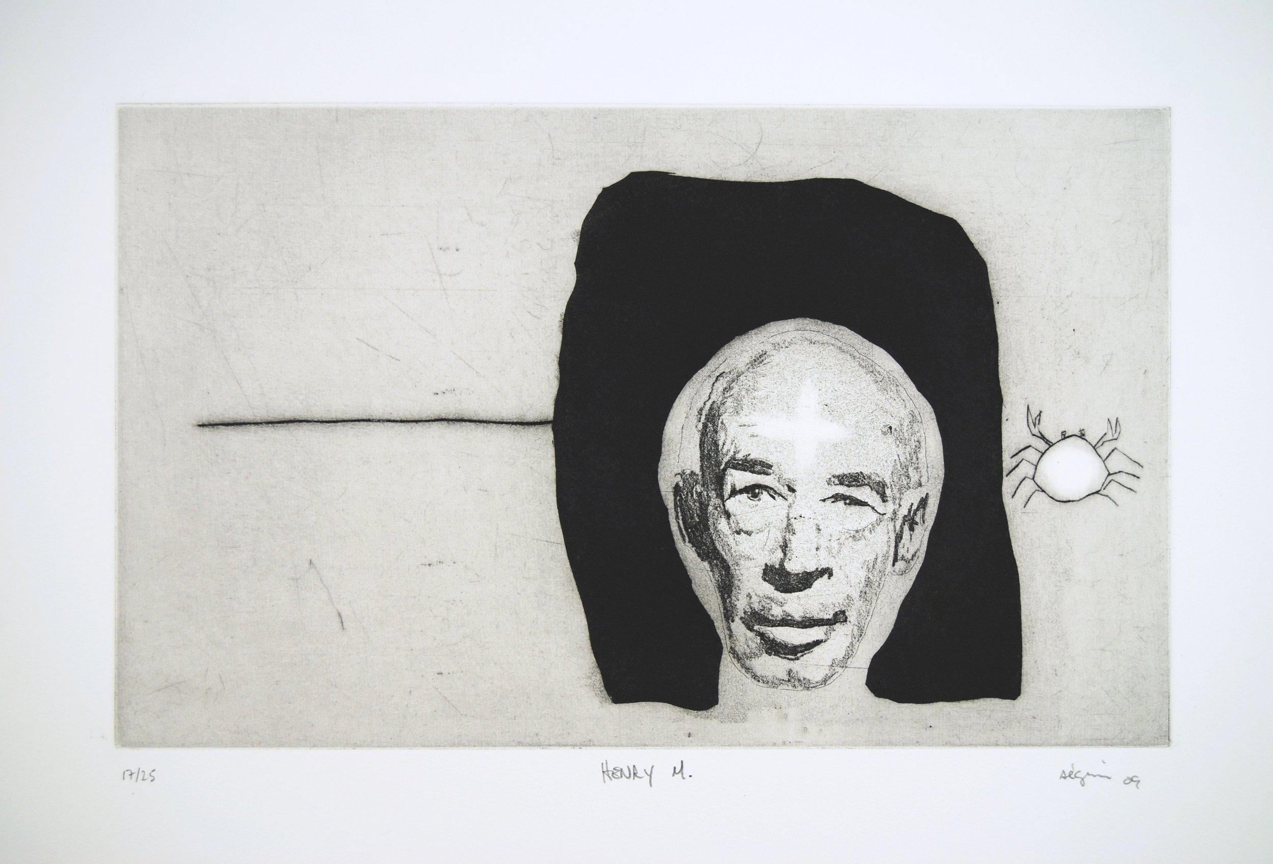 Henry Miller , 2012. Eau-forte rehaussée à la main. Édition de 25.