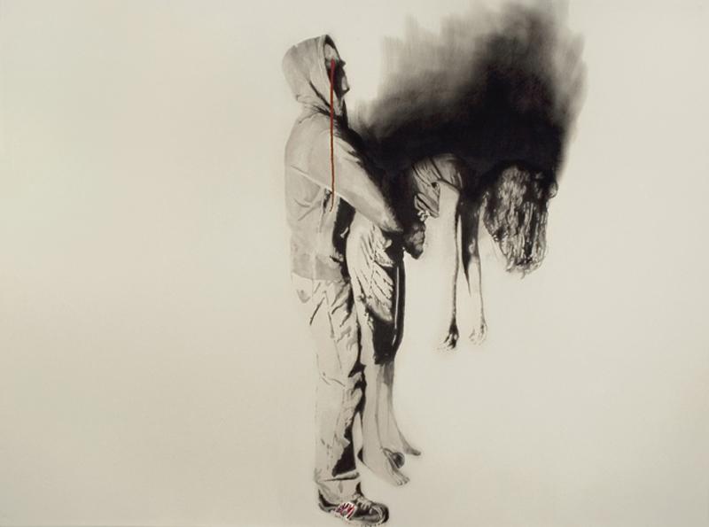 Bride Burning , 2011. Huile et fusain. 80 x 108 cm.