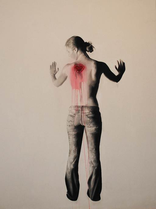 Branded Woman With Love , 2011. Huile et fusain. 84 x 60 pouces.