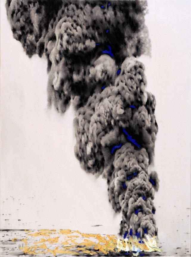Biutiful Sea Fire , 2012. Huile et fusain sur toile.