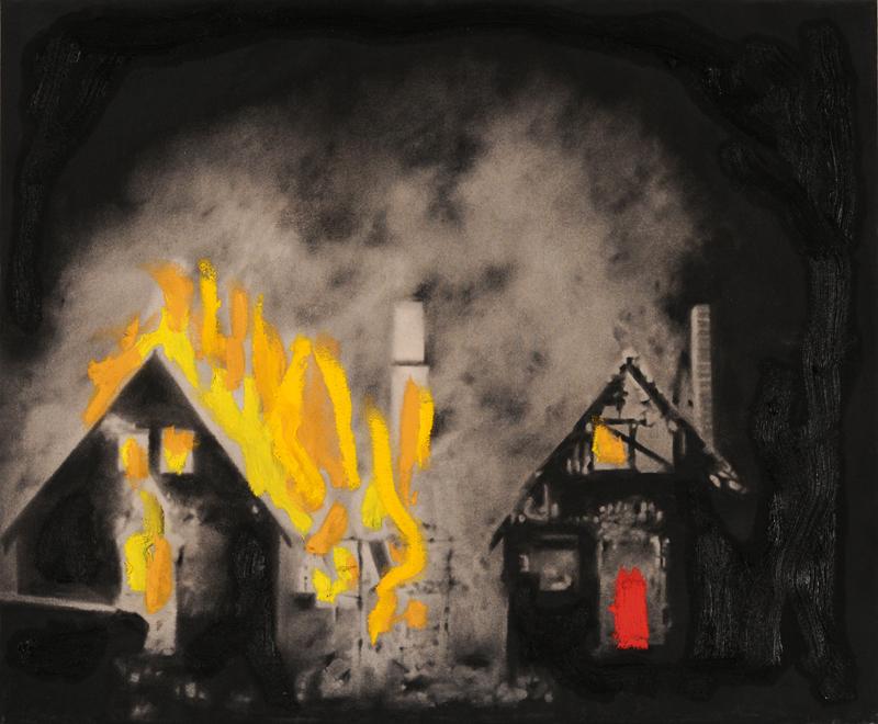 House on fire , 2012. Huile et fusain sur toile.
