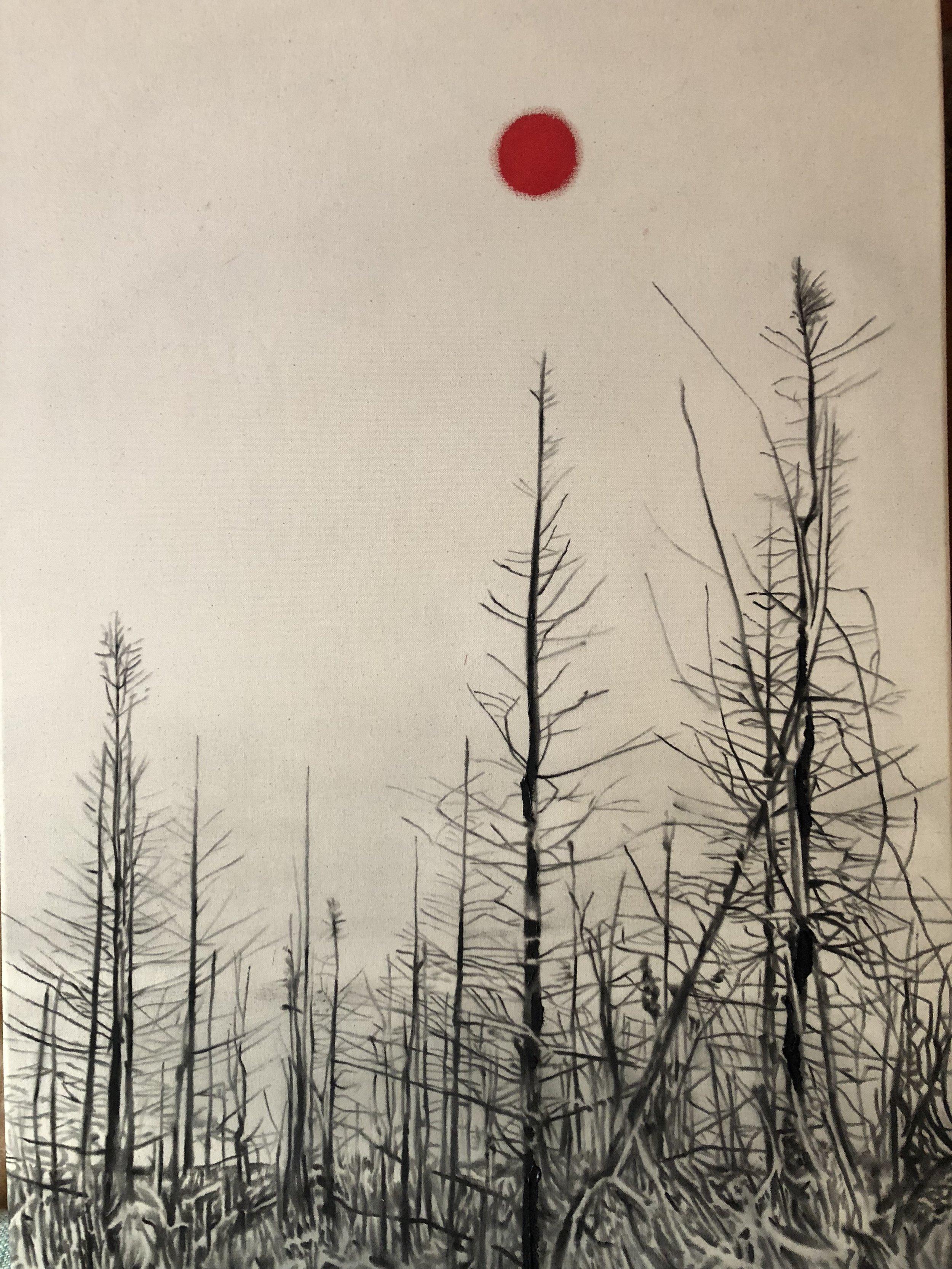 Cendres amoureuses no.2 , 2019. huile et fusain sur toile. 36 x 24 pouces.