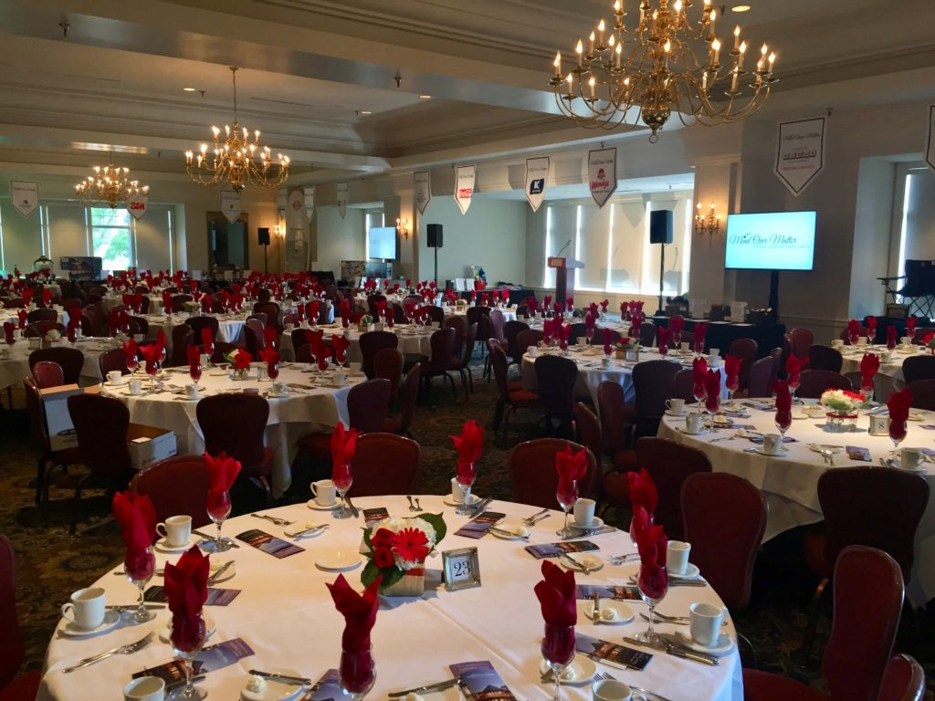 Picture of the AV for You audio visual set up for the Mind Over Matter fundraiser at Wayzata Country Club