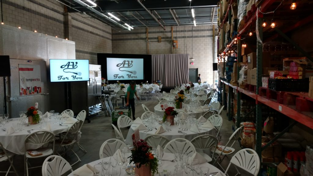 Picture of AV for You set up for Loaves and Fishes Gala Fundraiser