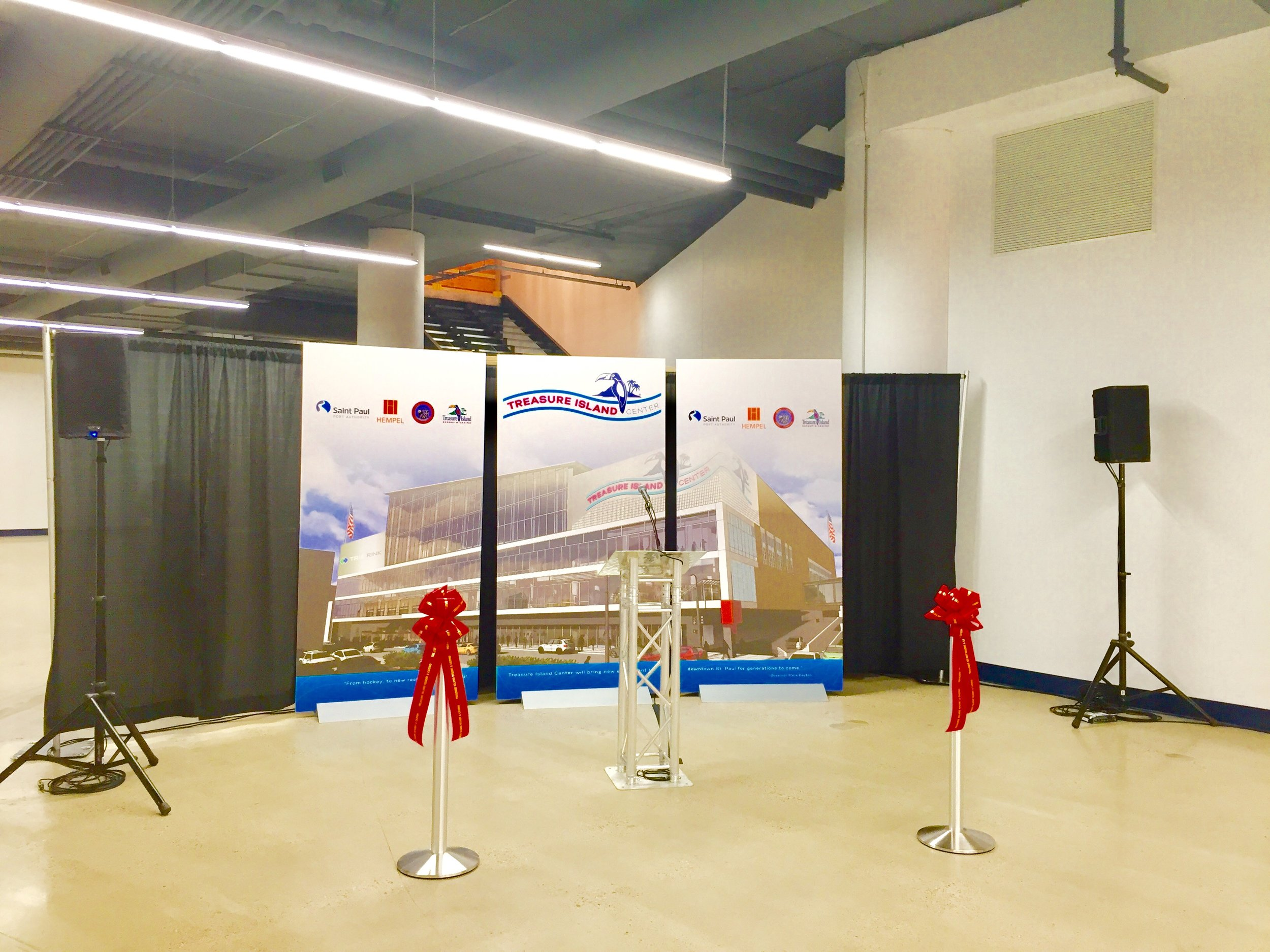 Picture of AV for You set up at the Treasure Island Center