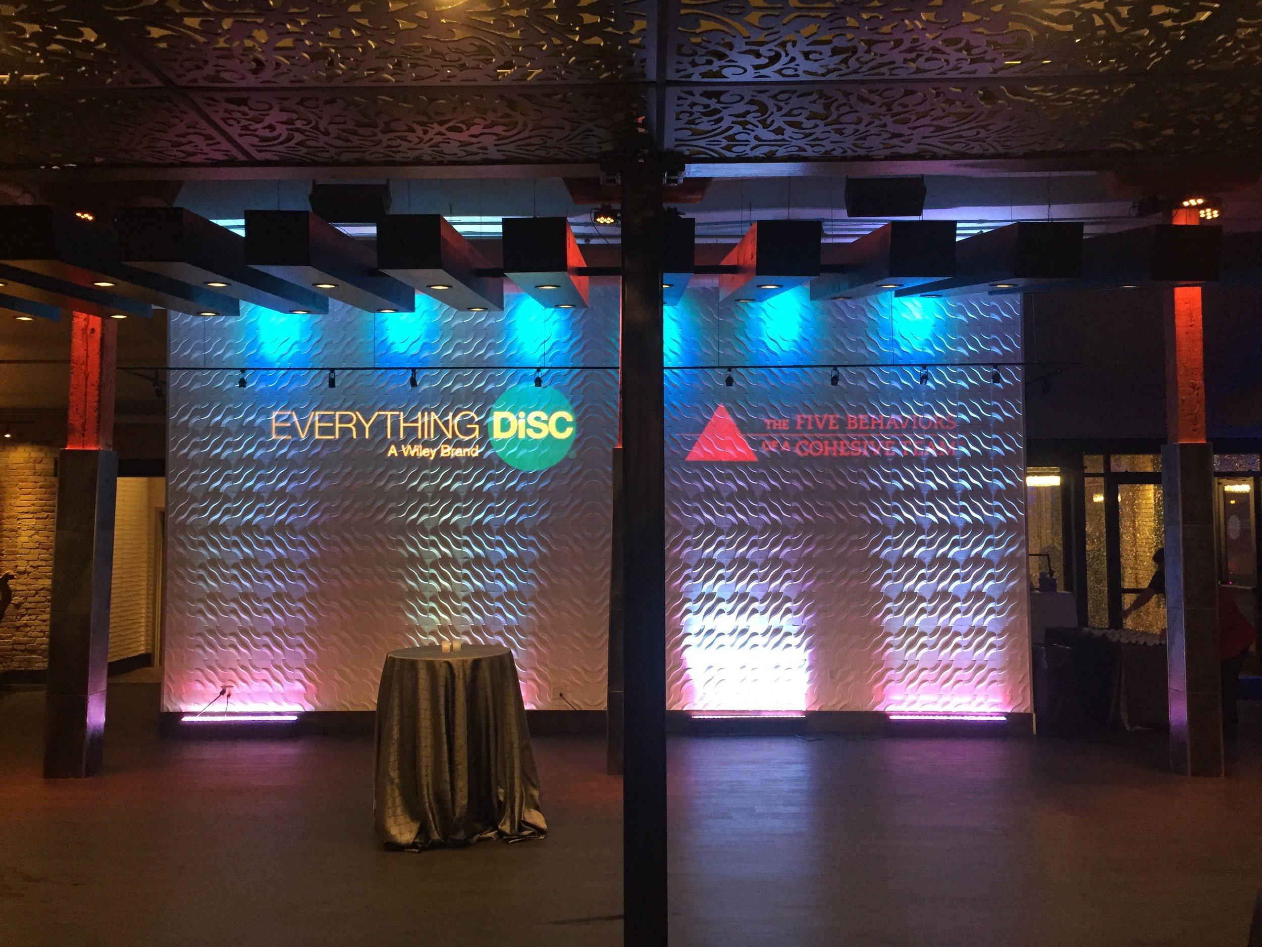 Photo of AV for You's Gobo set up at Minneapolis Event Center.