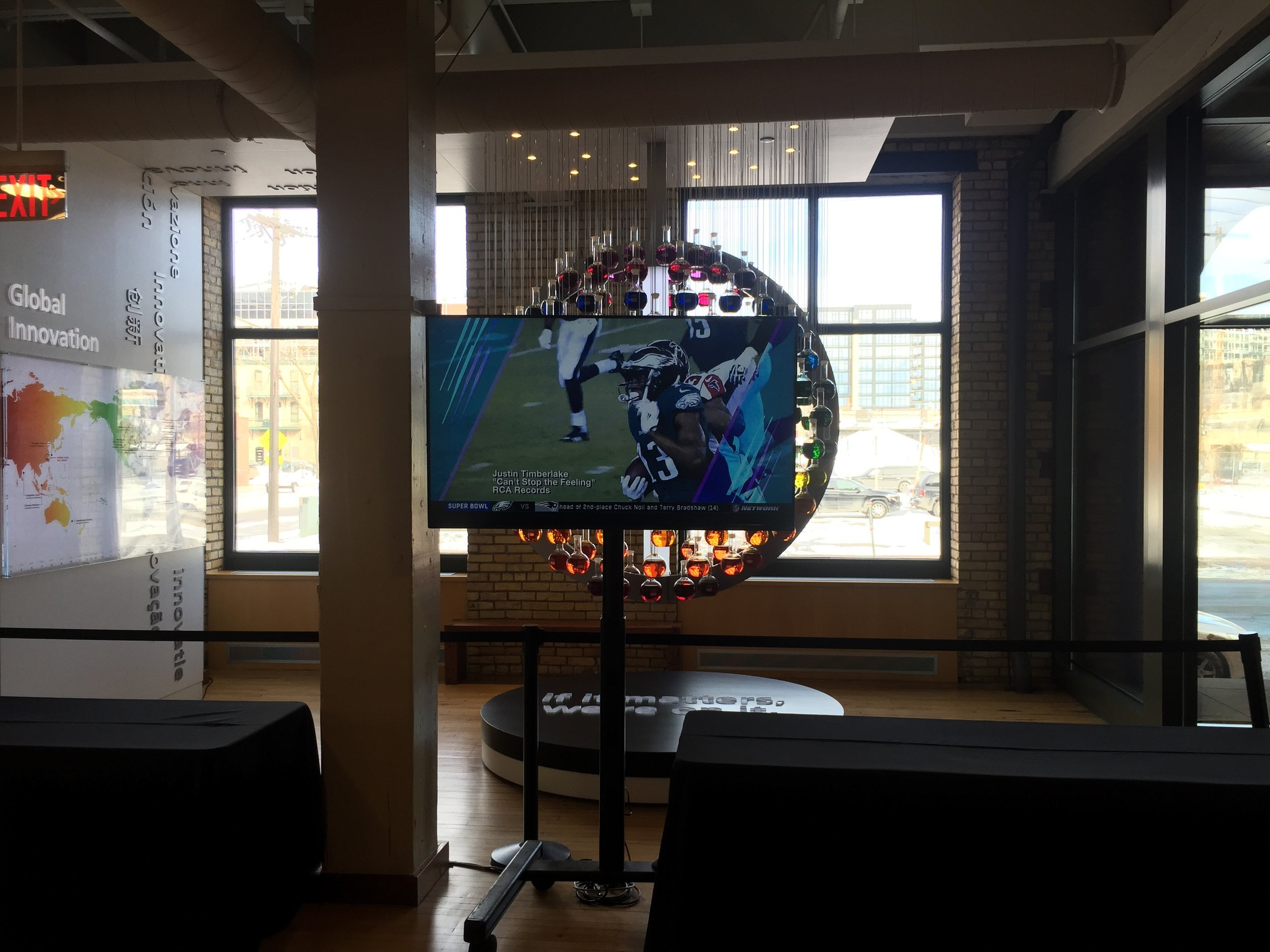 Picture of AV for You set up in Downtown Mpls for a Super Bowl Party