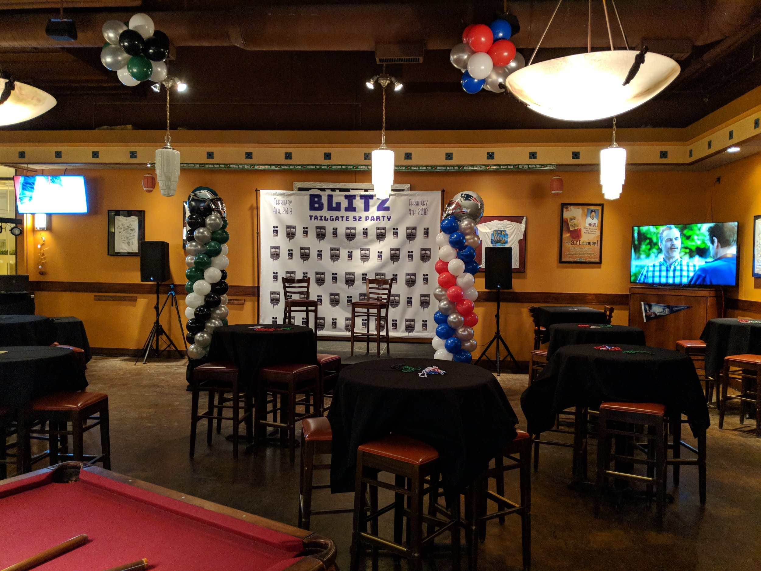 Picture of AV for You set up at the Rock Bottom Brewery in Downtown Minneapolis