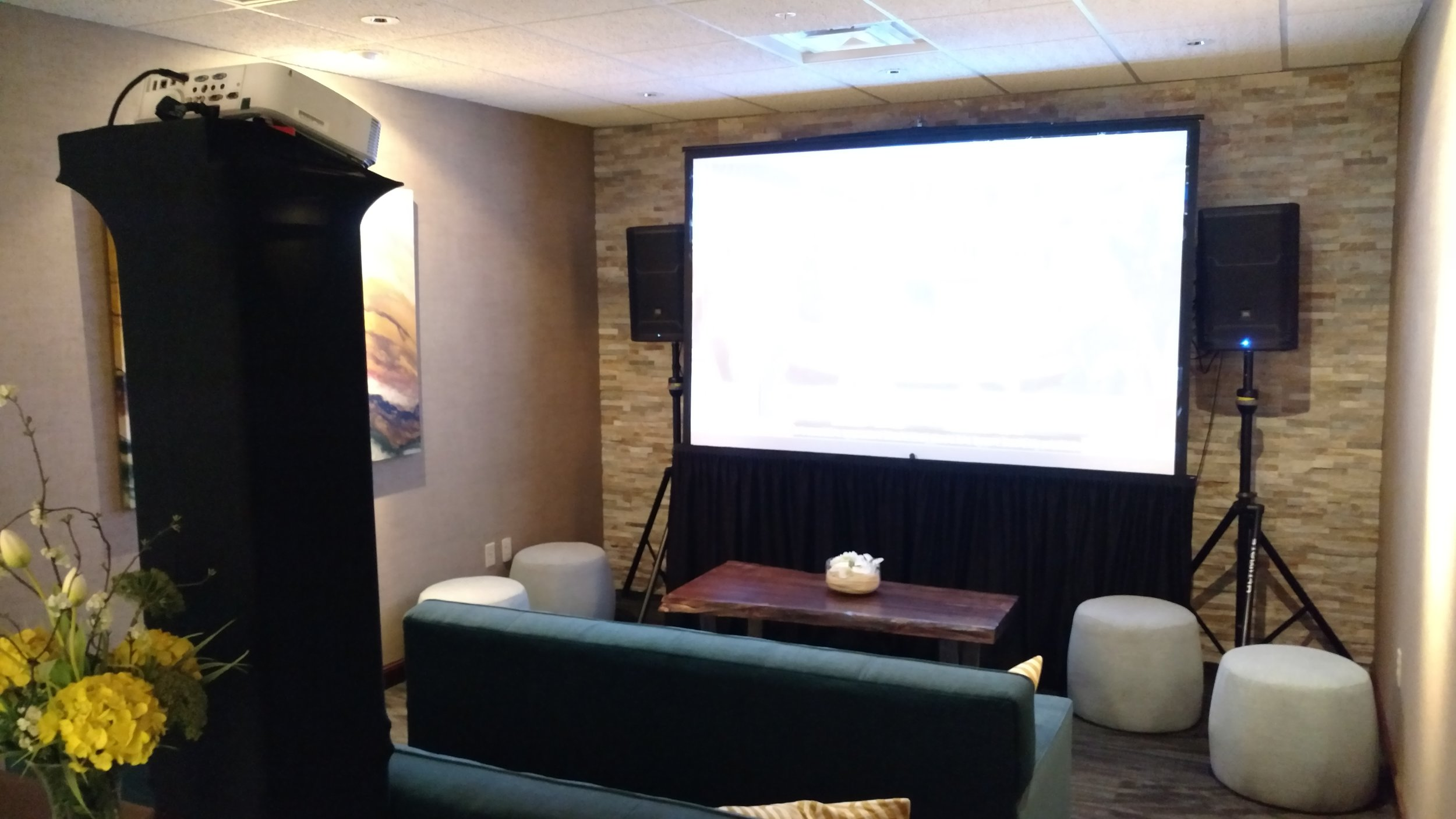 Picture of AV for You projector and screen rental at Lifetime Fitness in Downtown Minneapolis