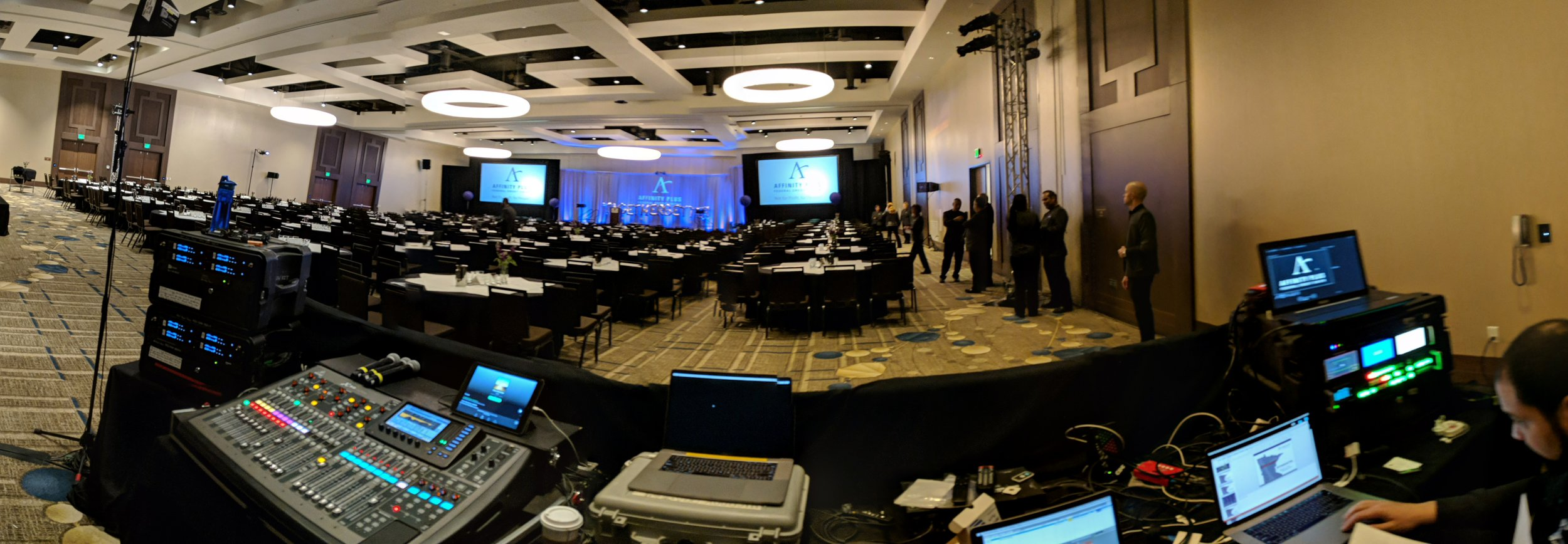 Picture of AV for You tech table at the JW Marriott in Bloomington, MN
