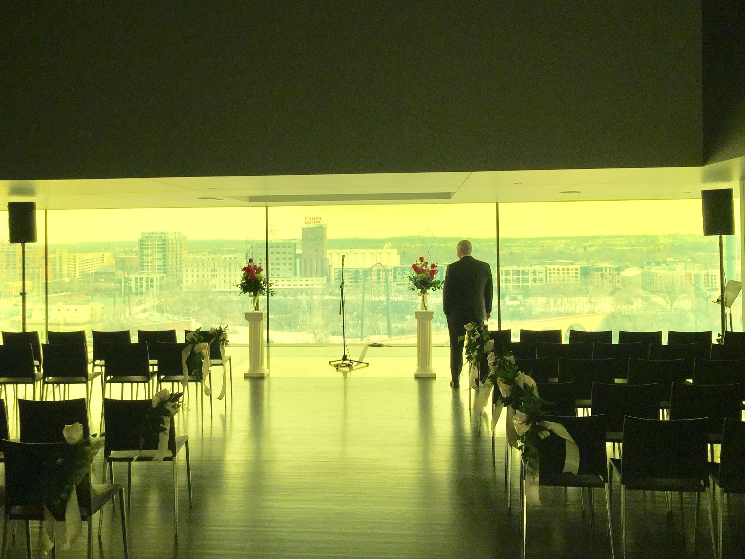 Picture of speaker and mic rental for a wedding at the Guthrie Theater in Minneapolis
