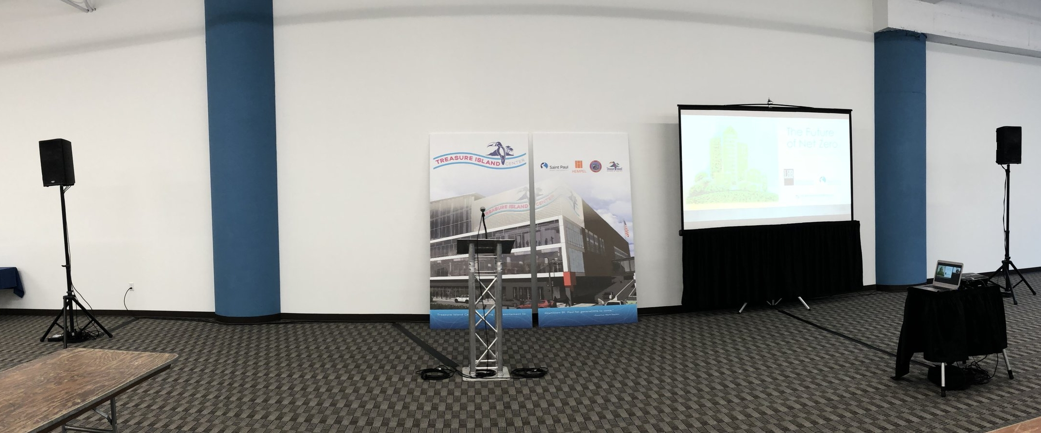 Picture of AV for You speaker, mic and podium rental at the Treasure Island Center in St Paul