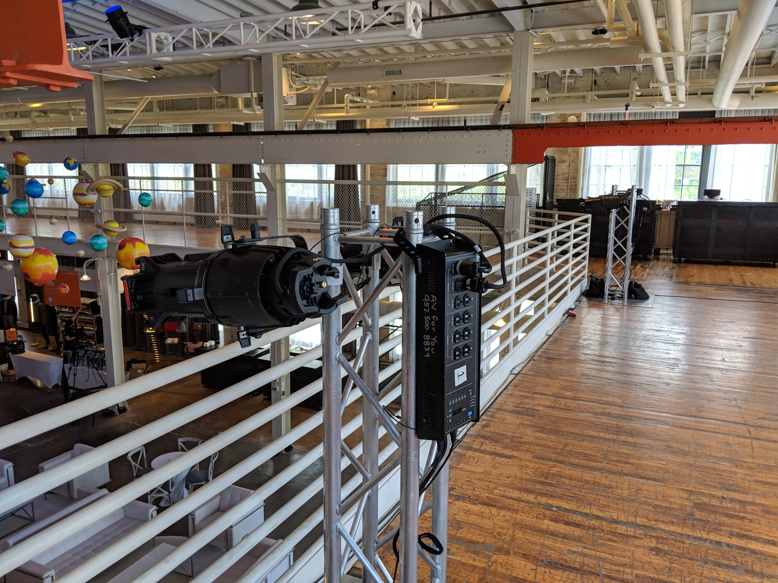 Picture of AV for You lighting equipment rental at the Machine Shop in Minneapolis