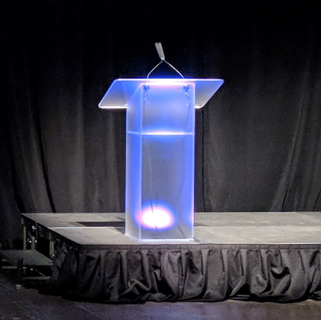 Picture of AV for You frosted podium with up light available to rent