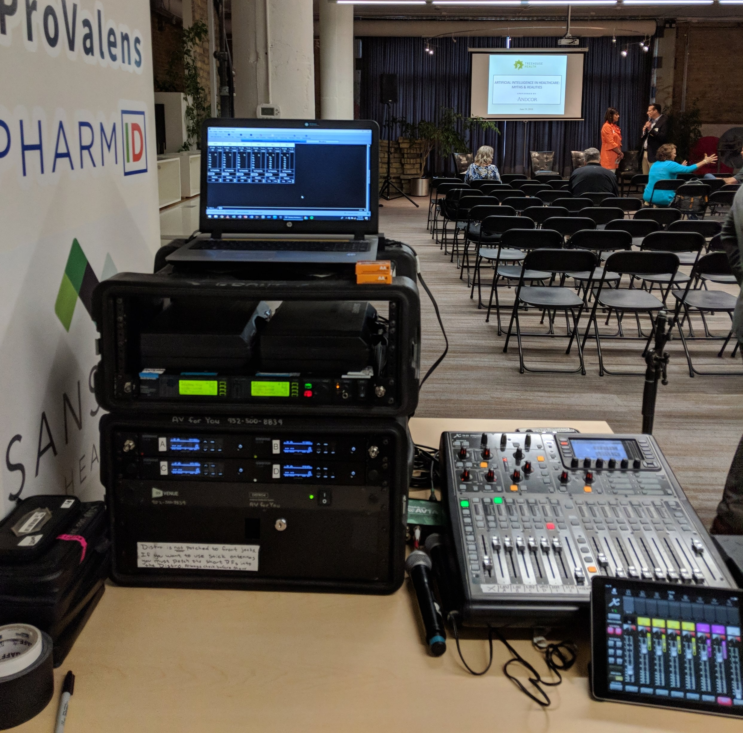Picture of AV for You audio equipment rental for a panel discussion at Treehouse Health