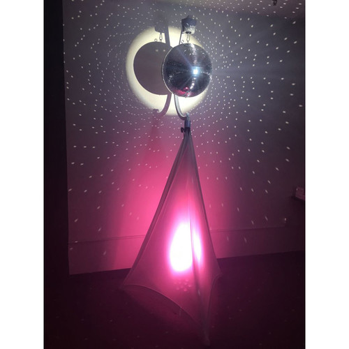 Picture of AV for You disco/mirror ball package available to rent.  (uplight pictured available for an additional charge)