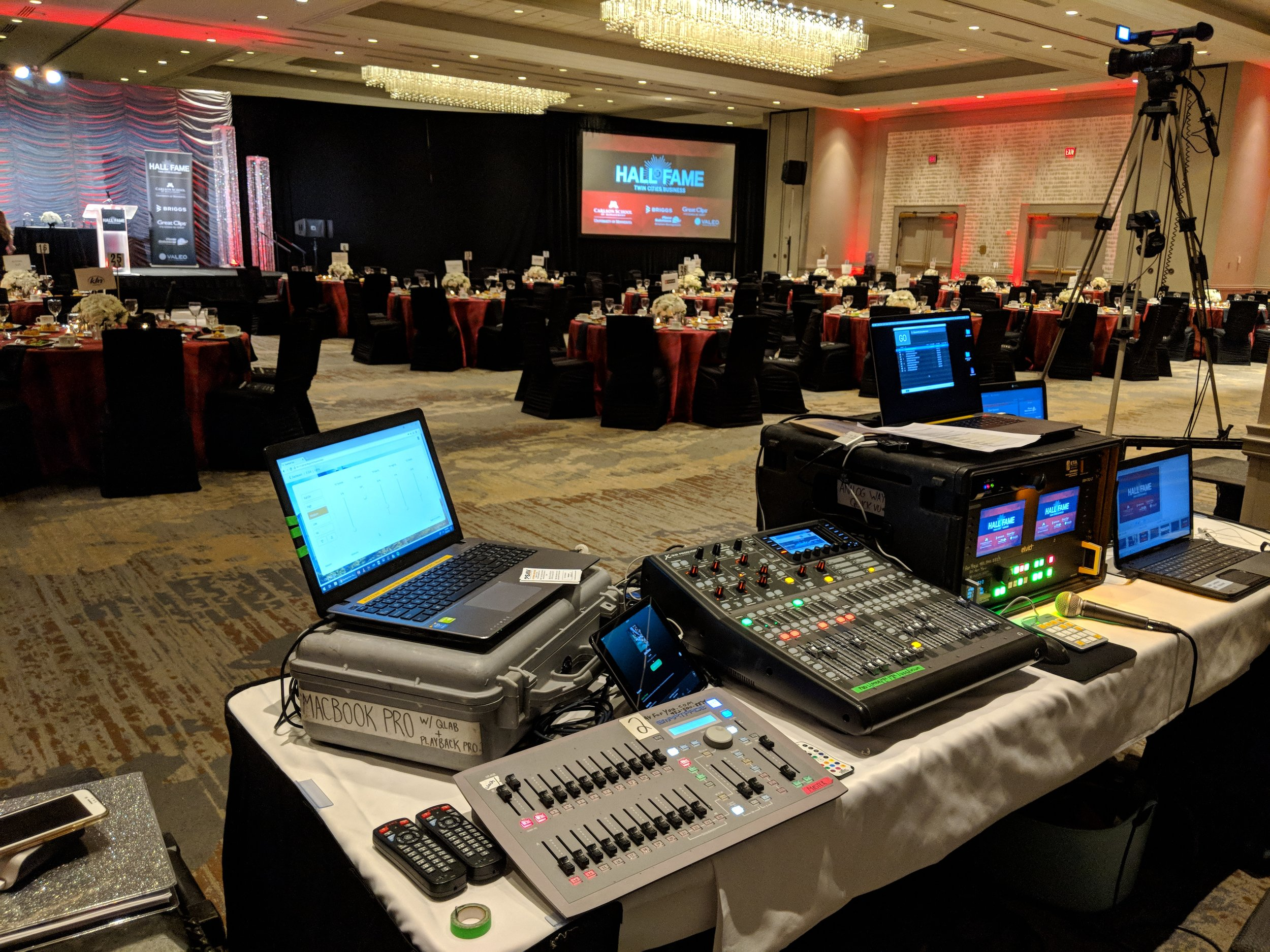 Picture of AV for You tech table at the Hilton Downtown Minneapolis