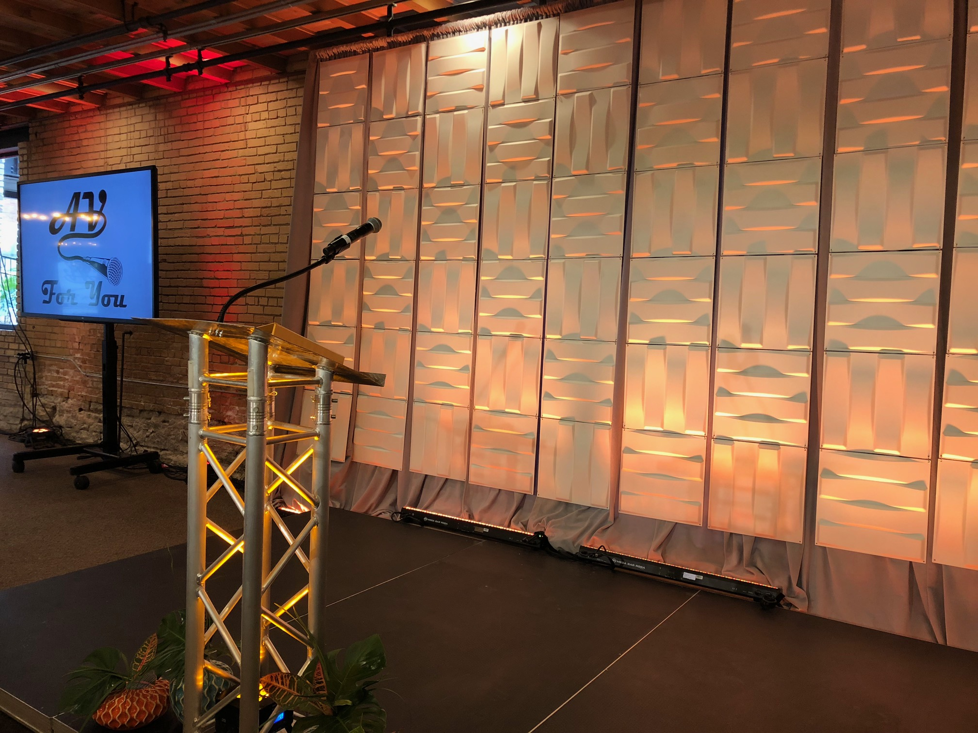 Picture of AV for You staging rental equipment at the Minneapolis Event Center