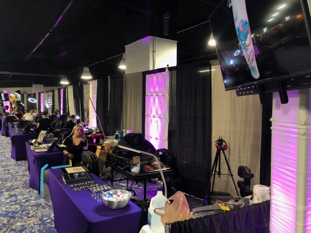 Picture of AV for You rental equipment at the Mpls Tattoo Arts Convention in the Hyatt Regency
