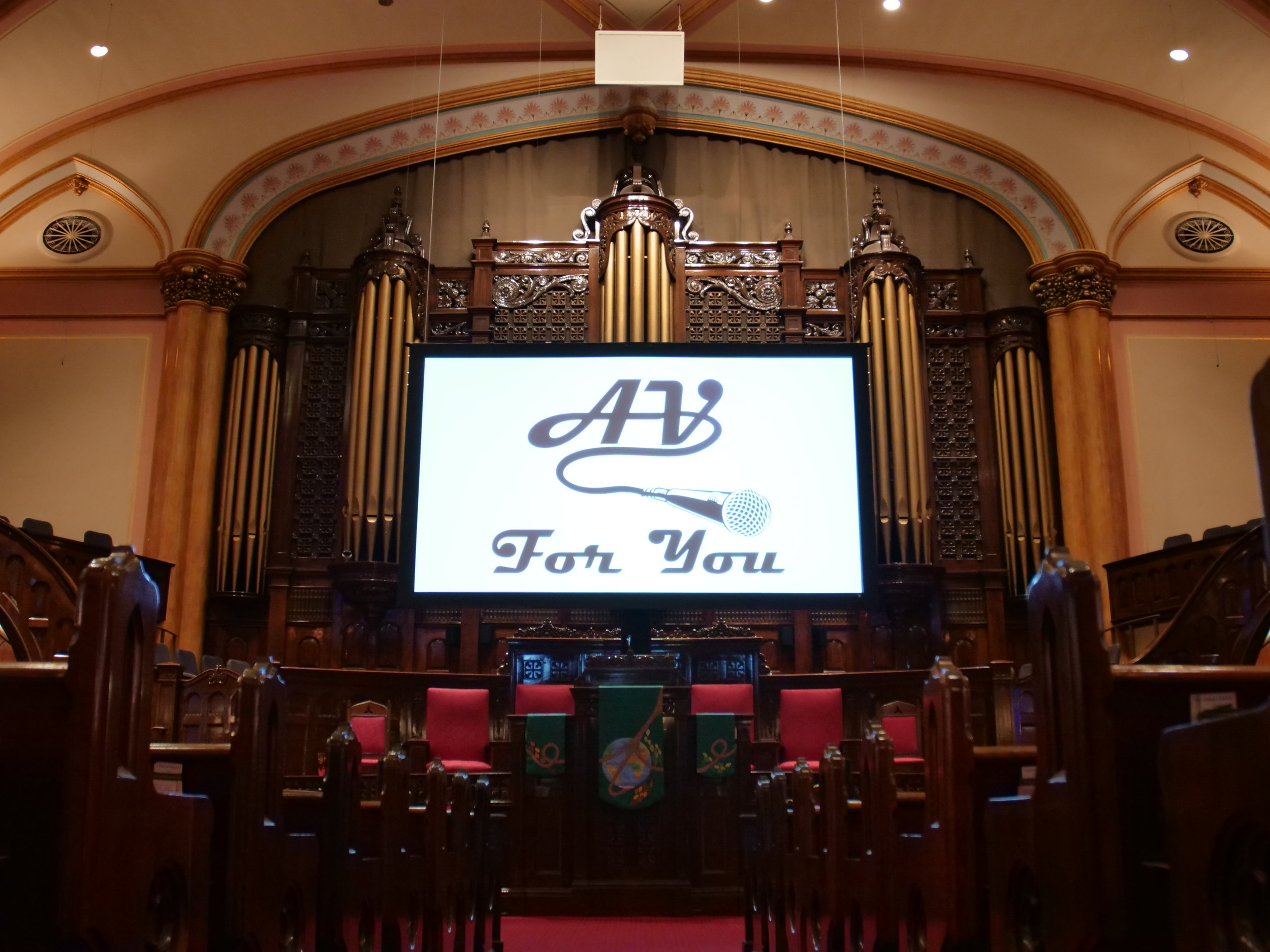 Picture of AV for You Screen Rental Equipment at Westminster Church in Minneapolis