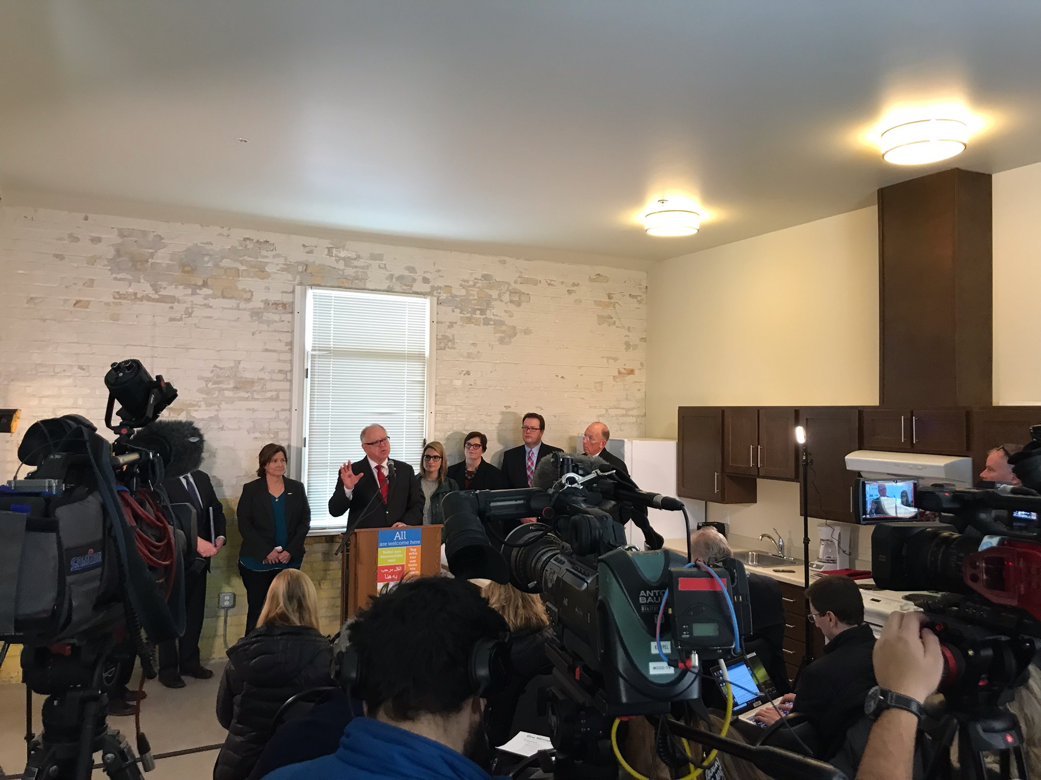 Picture of AV for You rental equipment at a Press Conference with Governor Walz in Bloomington, MN