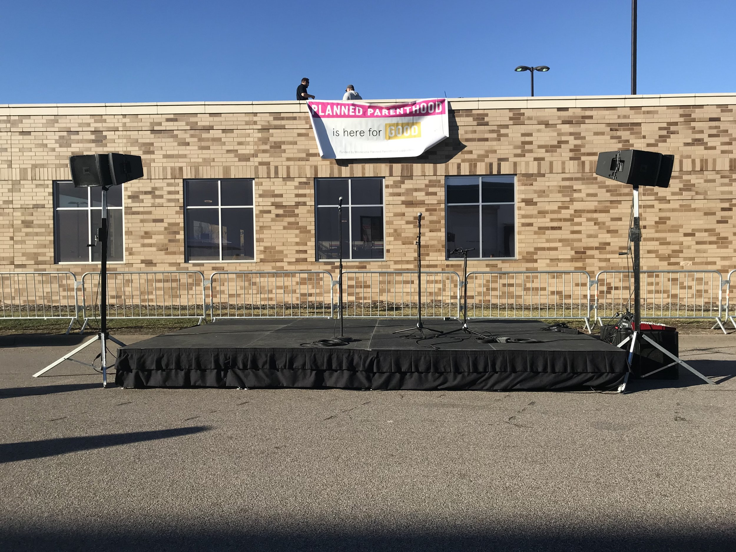 Picture of AV for You Sound and Stage Rental equipment for an outdoor event in St. Paul