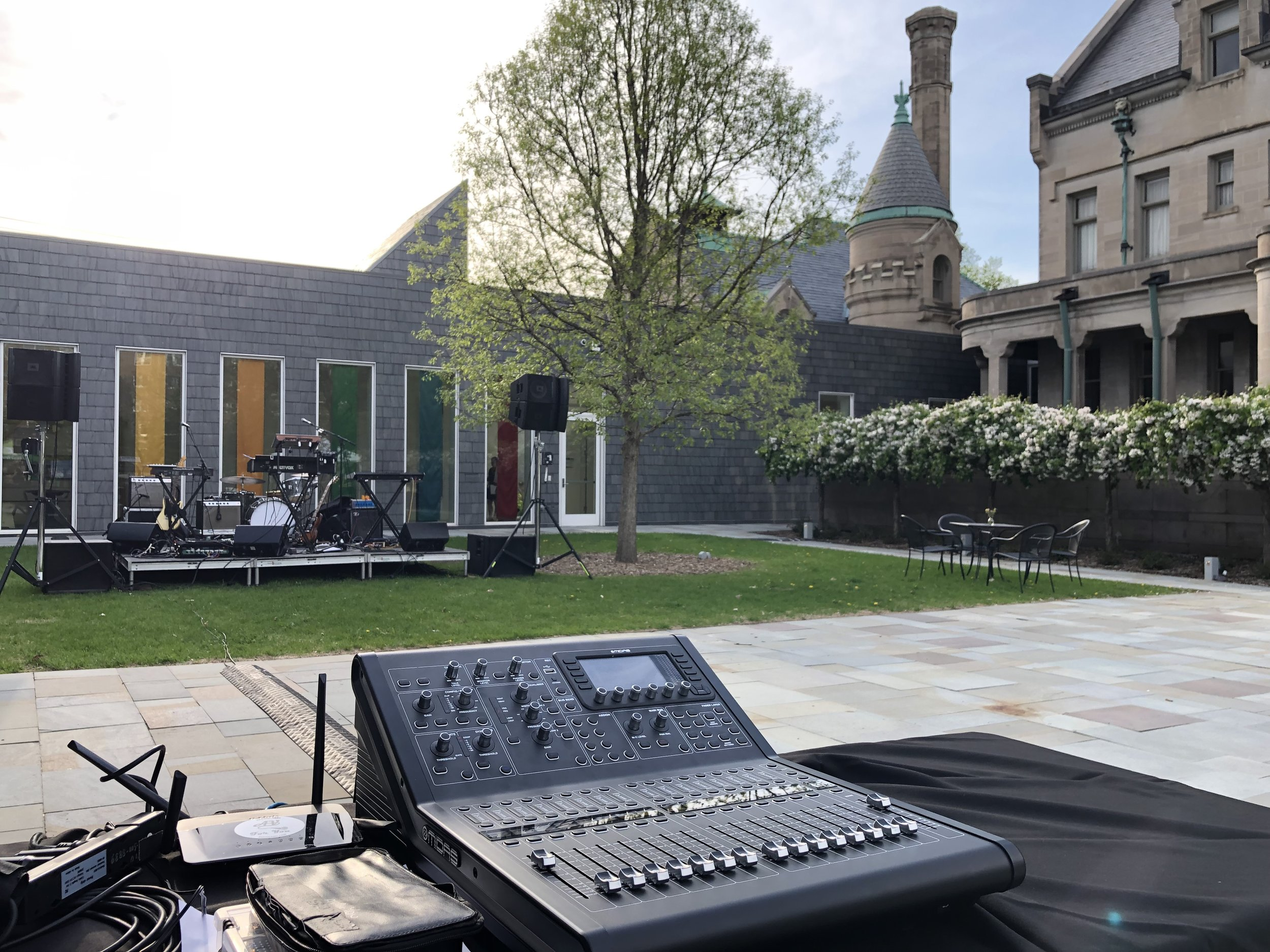 Picture of AV for You Outdoor Audio Rental for a Band at the American Swedish Institute in Minneapolis