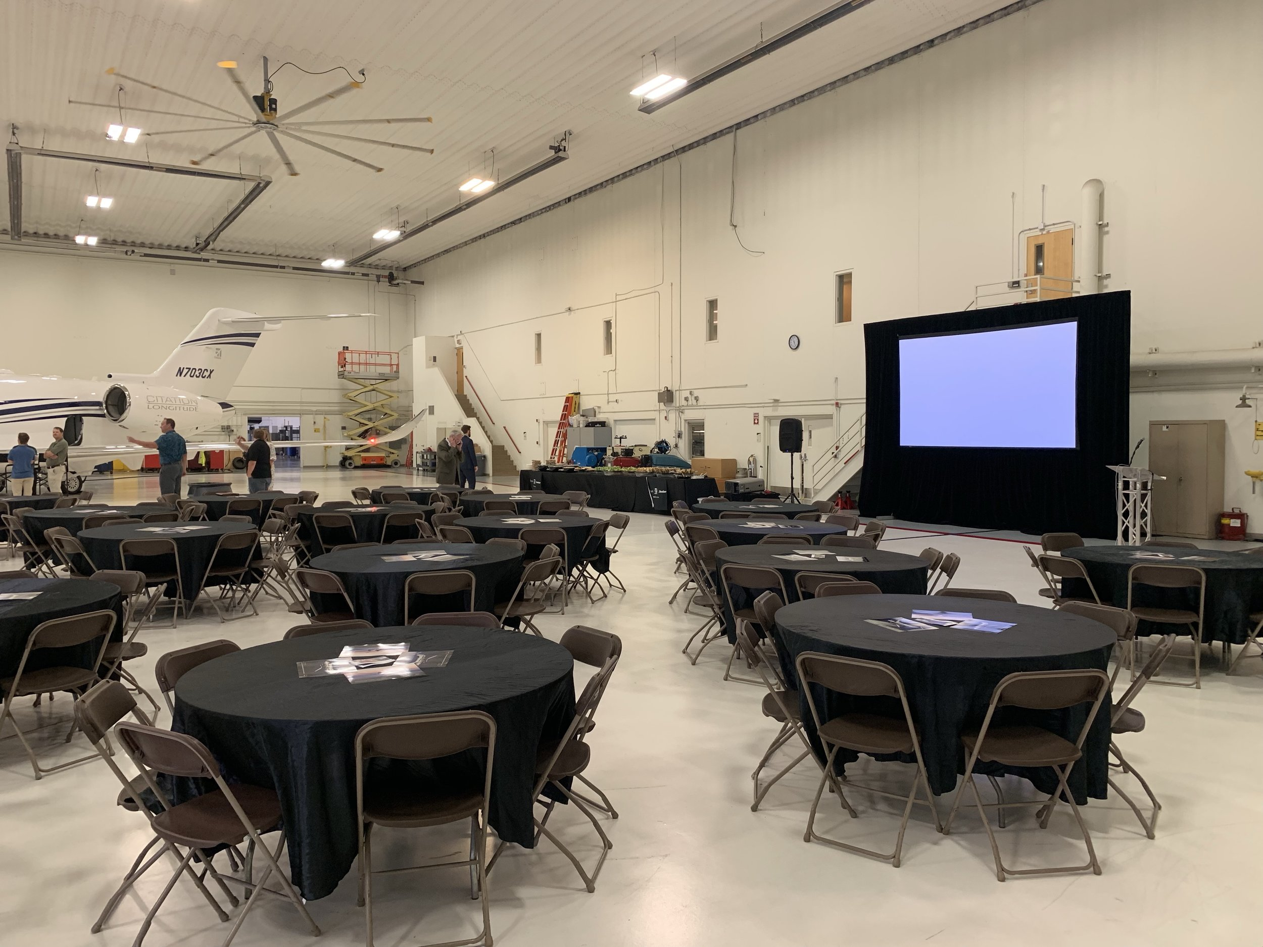 Picture of AV for You Rental Equipment for a Hangar Event in Bloomington, MN