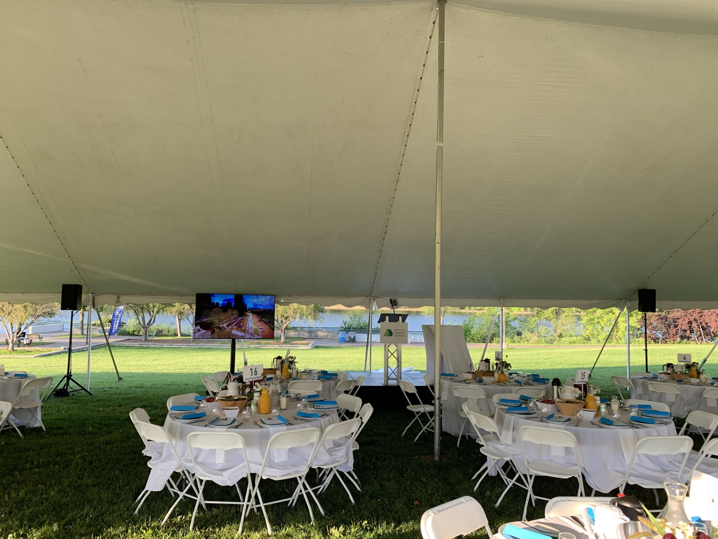 Picture of AV for You Audio Visual Rental Equipment at a Minneapolis Tent Event