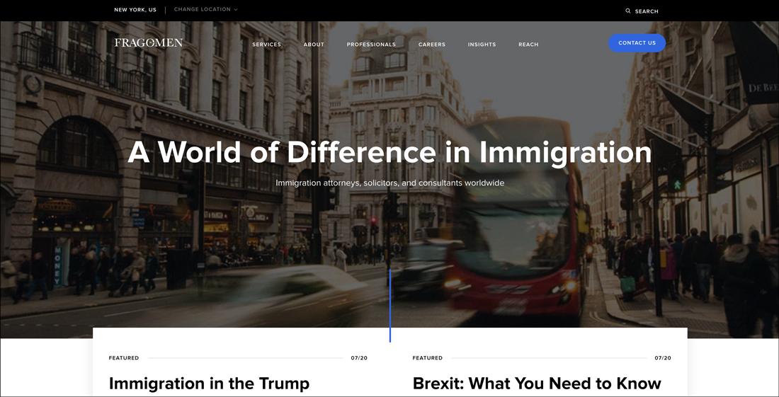 * Legal Publish and Parent Company   Tribeca Digital Recently Launch The New Fragomen.com Website