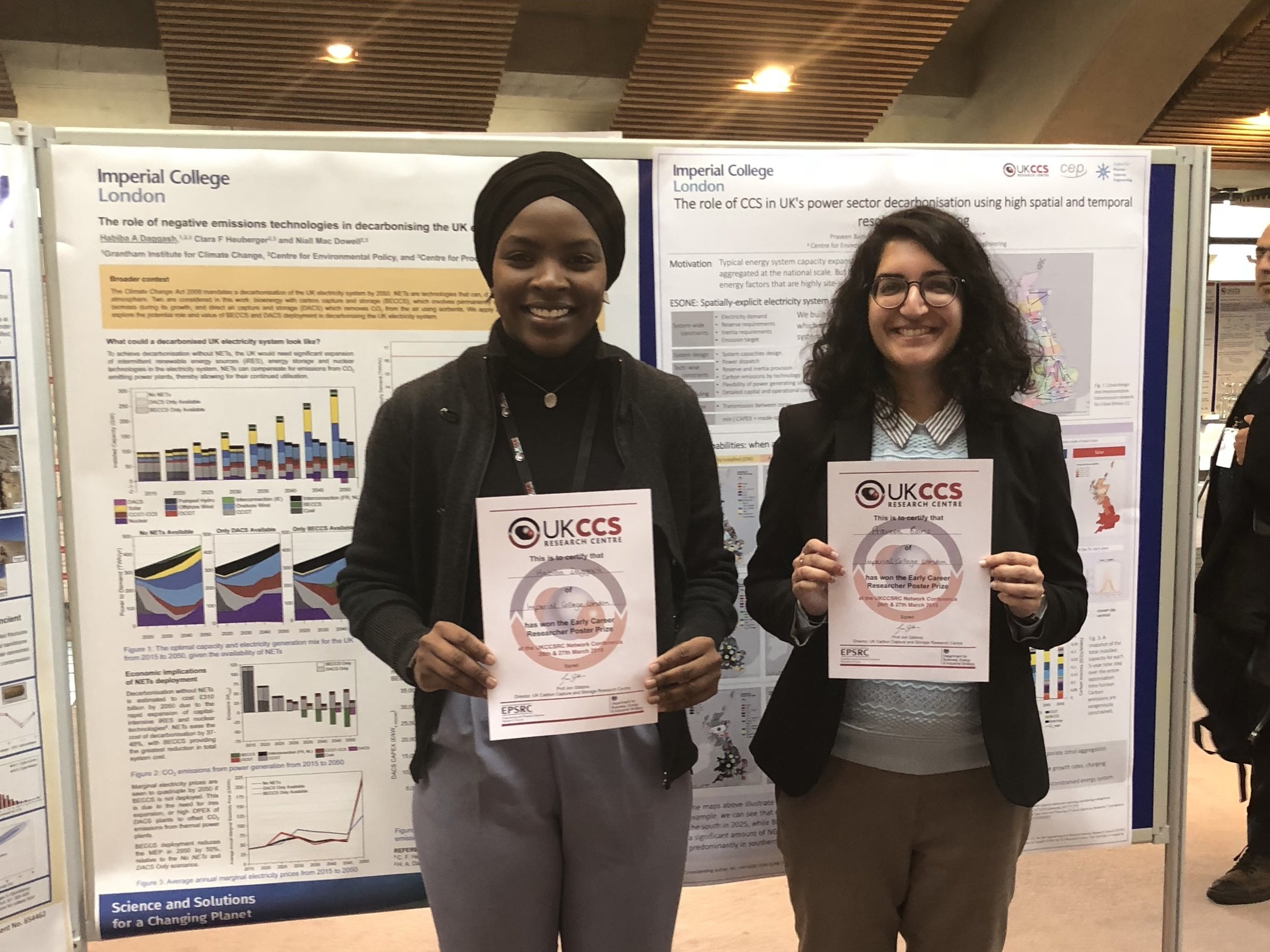 Habiba won the Early Career Researcher poster prize at the Spring biannual meeting of the UK Carbon Capture and Storage Research Centre (UKCCSRC)