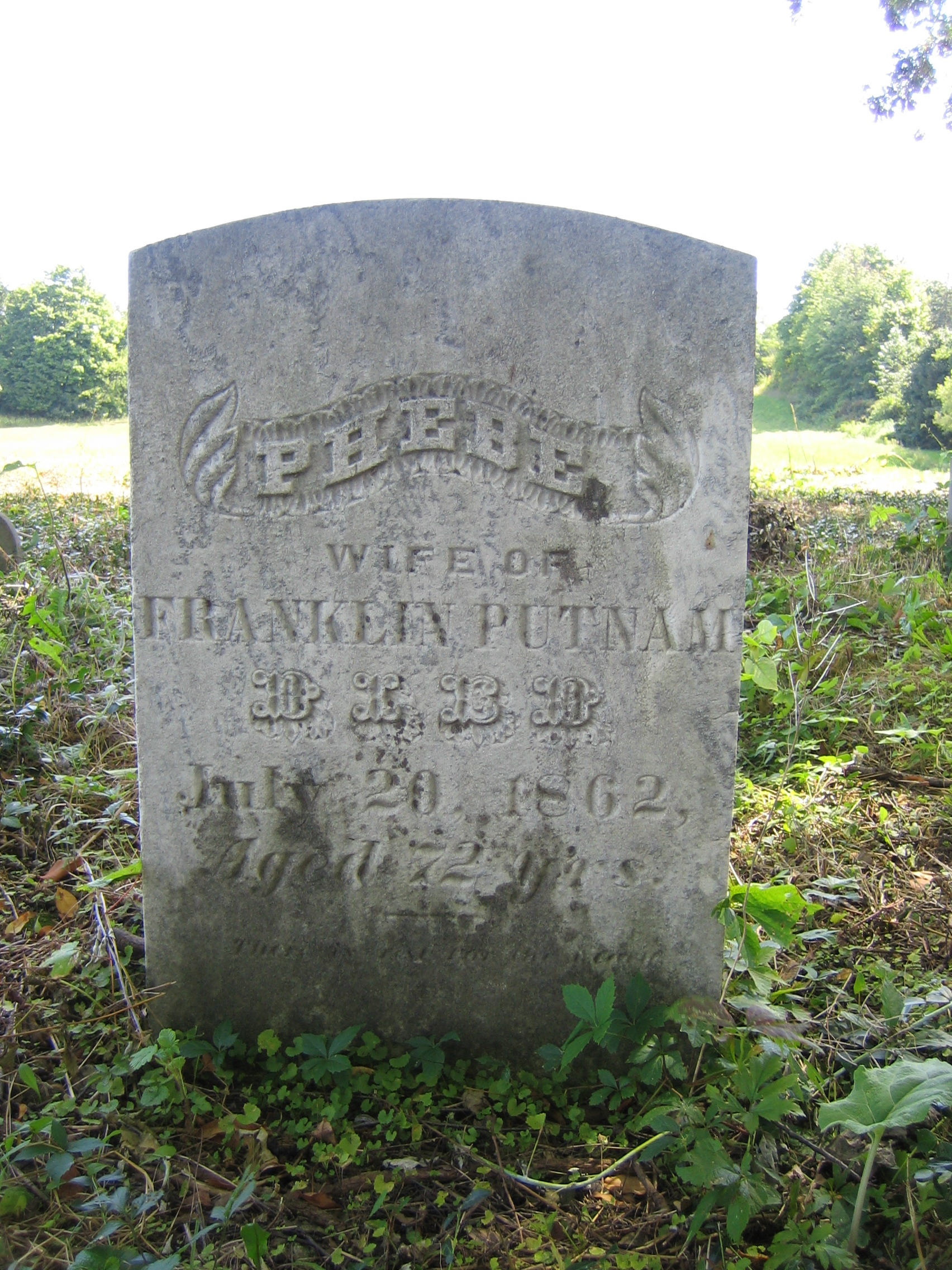 Phebe Burroughs Putnam's tombstone in the Putnam Settlement Cemetery, Genesee County, New York.