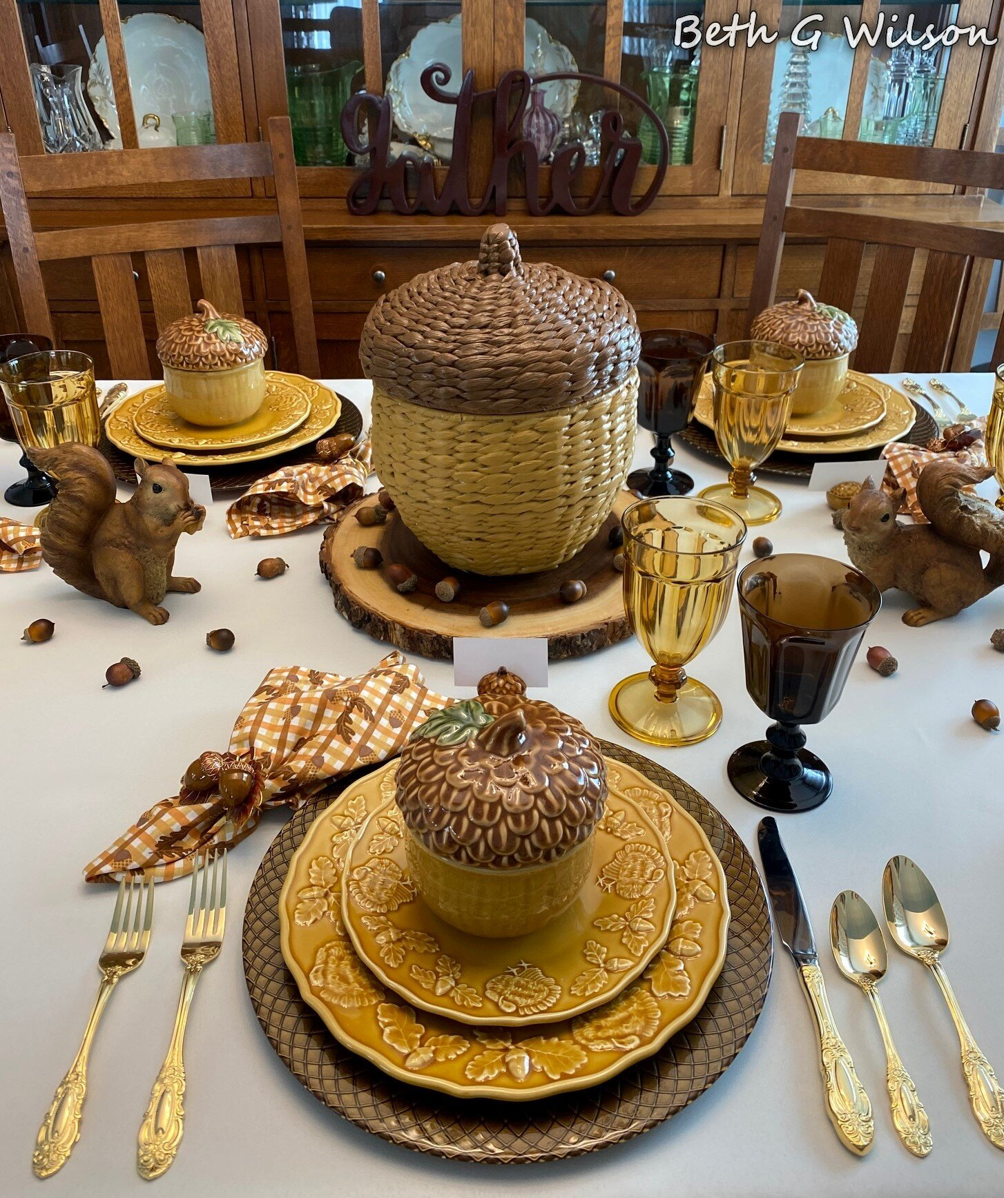 An Acorn Tablescape, featured at Funtastic Friday!