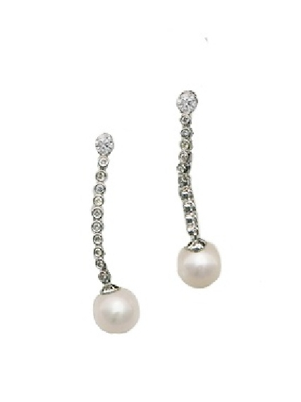 - 2 inch diamond and pear drops. Pearls are 15 mm. Diamonds 30pts 14k white gold. $500