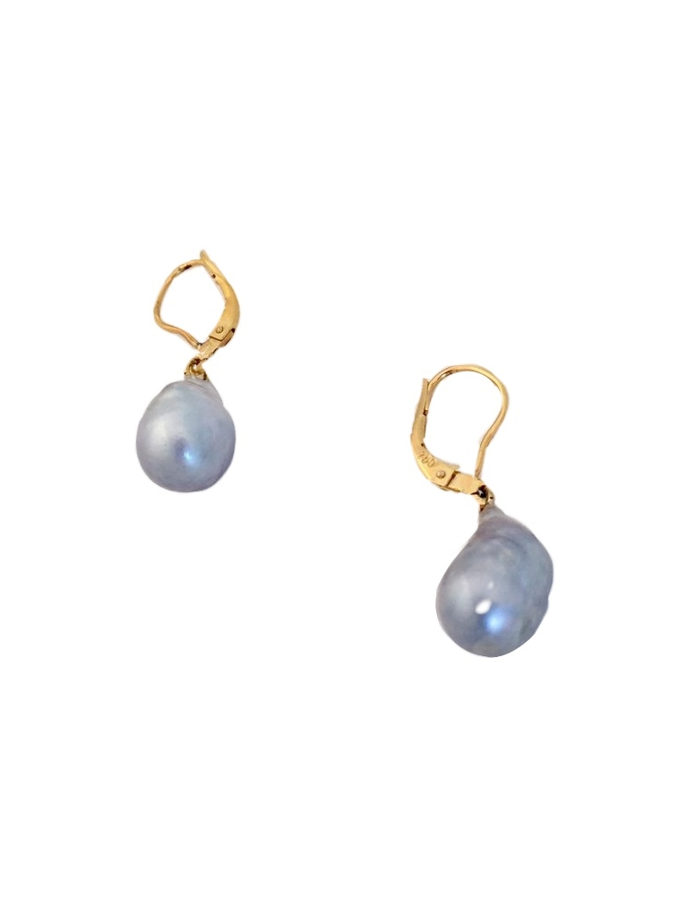 - Gray freshwater 1.5 inch pearls on 14k euro wires. $150
