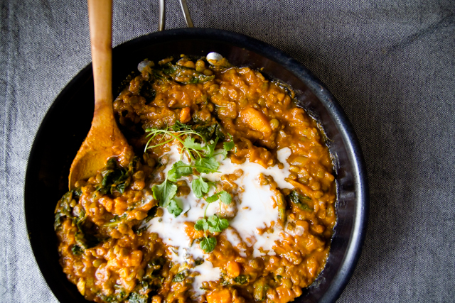 Curried Lentils with Sweet Potato and Kale
