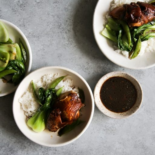 Master Stock with Chinese Style Red Cooked Chicken and Asian Greens