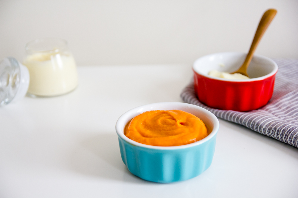 Serves  9 to 12 portions, depending on your baby's appetite.  Ingredients  3 large sweet potatoes, scrubbed well   The Stock Merchant Vegetable , Mushroom or  Chicken Stock (boiled and cooled)  A spoonful of butter, optional  Instructions  Preheat your oven to 200. Prick potatoes all over with a fork or skewer.  Line a baking tray with foil or parchment paper. Bake for 45 minutes or until tender. The skin on the potato will begin to wrinkle when they are done.  Pull from the oven and allow to cool slightly, so they are easier to handle. Peel back the skin and scoop out the flesh.  Blend until smooth, with approximately 200ml of stock (and butter, if desired), adding more to thin to your desired consistency.