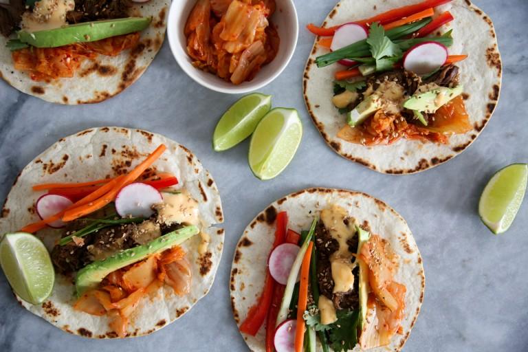 Korean Beef Tacos with Kimchi and Gochujang Aioli