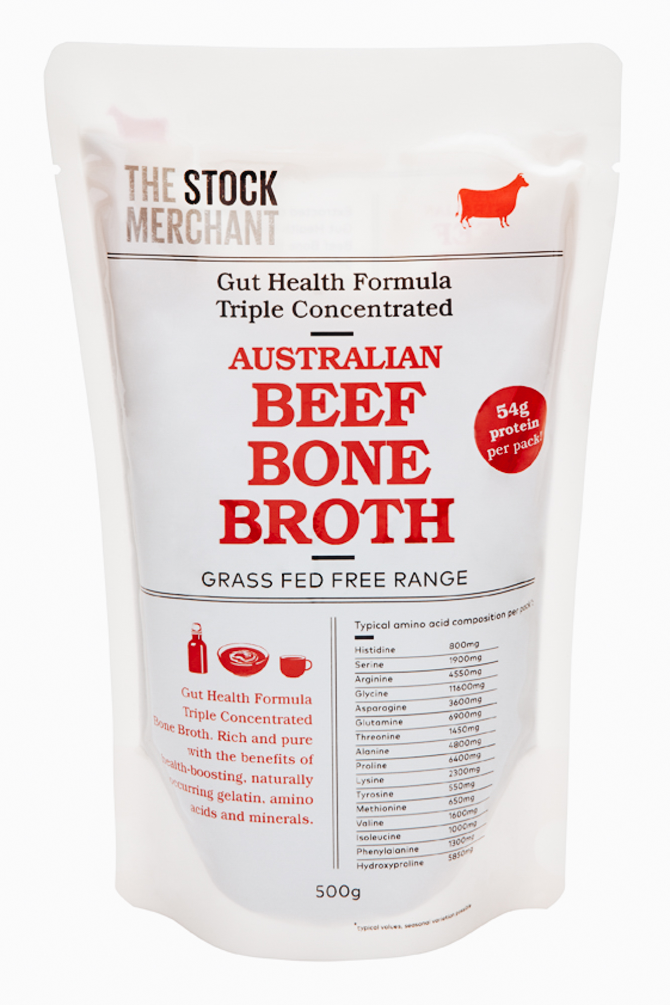 Beef Gut Health Bone Broth - Over 59 grams of protein per pack.