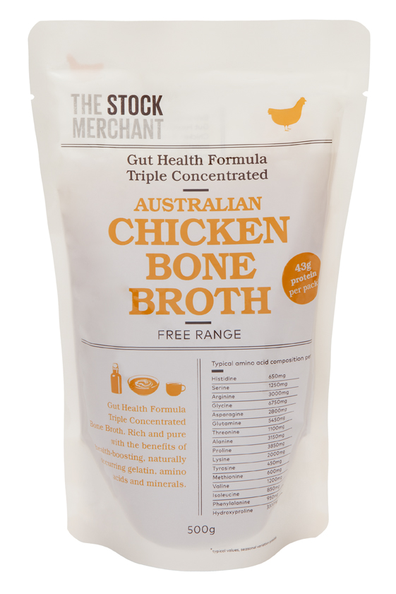 Chicken Gut Health Bone Broth  - Over 43 grams of protein per pack.