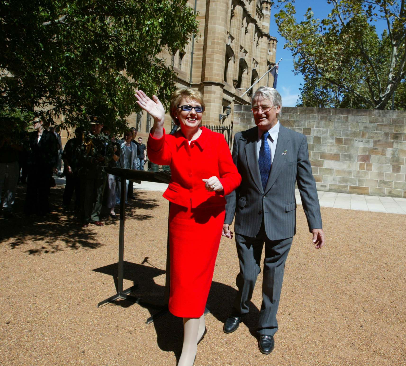 Tom Power with President Mary McAleese at the Hyde Park Barracks in 2003.